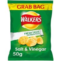 5 x Large 50g Grab Bags, Walkers Salt and Vinegar Crisps (250g) £1at Heron Foods Bentilee