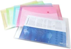 Rapesco 0696 Popper Wallet - Foolscap, With Press Stud Closure. Assorted Colours (Pack of 5) £1.82 @ Amazon Prime (+£3.49 non Prime)