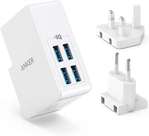 Anker USB Plug Charger 5.4A/27W 4-Port USB Charger, PowerPort 4 L with UK and EU for £10.99 Prime/£15.48 NP-Sold by AnkerDIrect & FBA