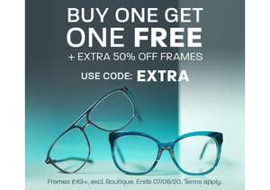 Buy One Get One Free + Extra 50% Off Frames @ Glasses Direct (£3.95 P&P)