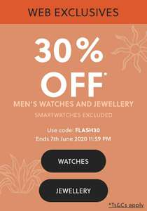 Fossil watches and jewellery - extra 30% off
