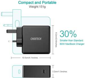 CHOETECH PD 60W USB C Charger convertible plug £14.99 (+£4.49 NP) Sold by Sinkivi and Fulfilled by Amazon.