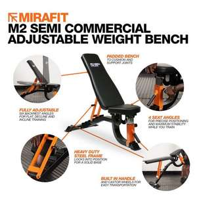 MIRAFIT M2 SEMI COMMERCIAL ADJUSTABLE WEIGHT BENCH £149.95 @ MiraFit