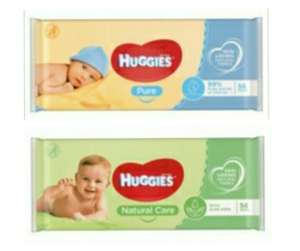 Huggies Pure Baby Wipes / Huggies Baby Wipes Natural Care - 56 Pack - 2 for 50p (25p each) @ Tesco