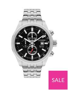 Citizen Black And Silver Detail Chronograph Dial Stainless Steel Bracelet Mens Watch Now £99 + £3.99 delivery @ Very