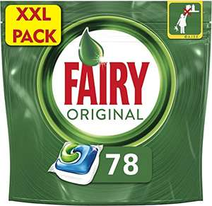 Fairy Original All-in-One Dishwasher tablets 78 count - £9 (£7.26 S&S / +£4.49 Non-Prime) @ Amazon