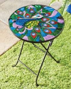 Peacock or Poppy Decorative Glass Garden Table £12.95 / £15.94 Delivered (Free on orders over £20) @ Aldi
