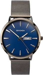 SEKONDA Mens Analogue Classic Quartz Watch with Stainless Steel Strap £26.98 with voucher at Amazon