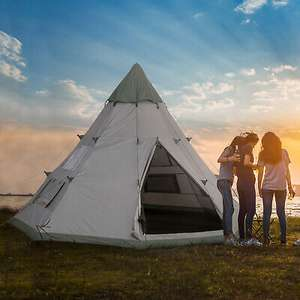Outside sunny 6 Man Tipi Tent Metal Poles Water-Resistant Walls Mesh Windows Zipped Door £123.99 From 2011homcom/eBay