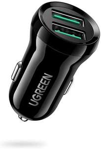 UGREEN QC 3.0 car charger with two USB ports for £6.29 Prime or £10.78 non-Prime delivered using code @ UGREEN Group fulfilled by Amazon