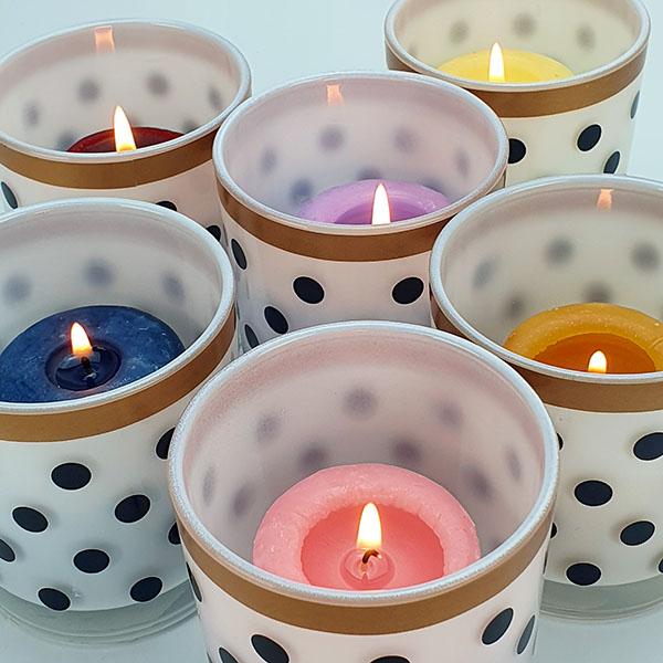 6 X Official Yankee Polka Dot Votive Candle Holders £4 @ Yankee Bundles