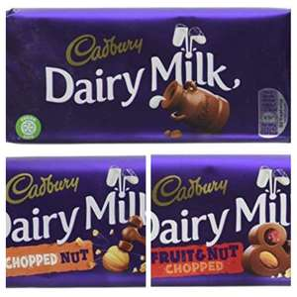 Cadbury Dairy Milk / CDM Fruit & Nut / CDM Chopped Nut (95g bars) - £1 each Prime / 95p Subscribe & Save / £5.49 Non-Prime @ Amazon