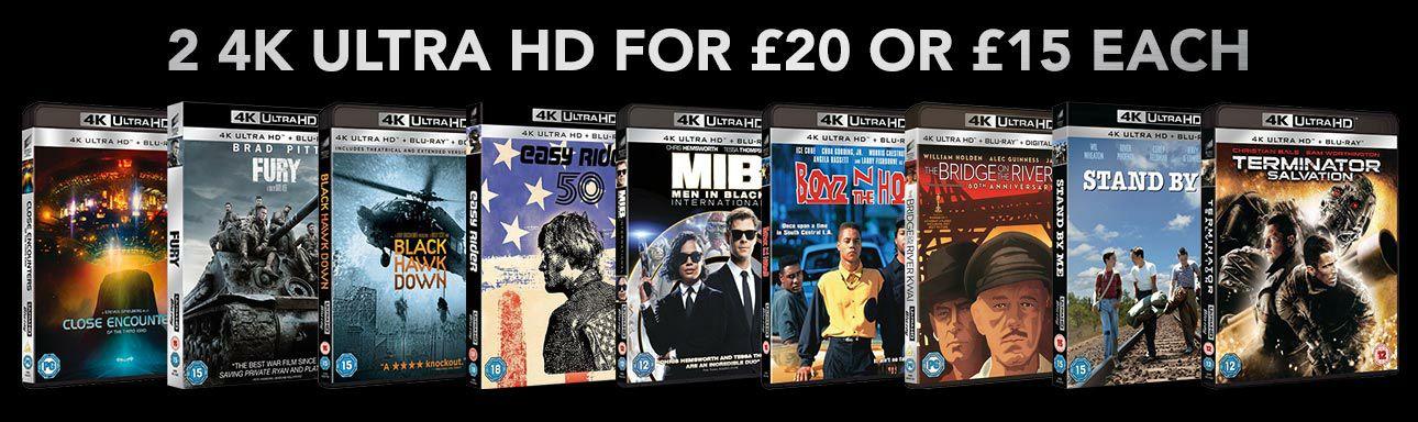 4k UHD blu ray movies 2 for £20 (Spiderman homecoming,easy rider,bad boys etc) @ Zoom