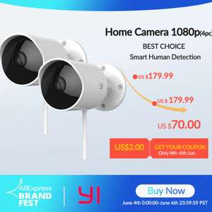 Yi Home Outdoor Security Camera 2 Pack, £58.20 Shipping from Spain AliExpress yi Official Store