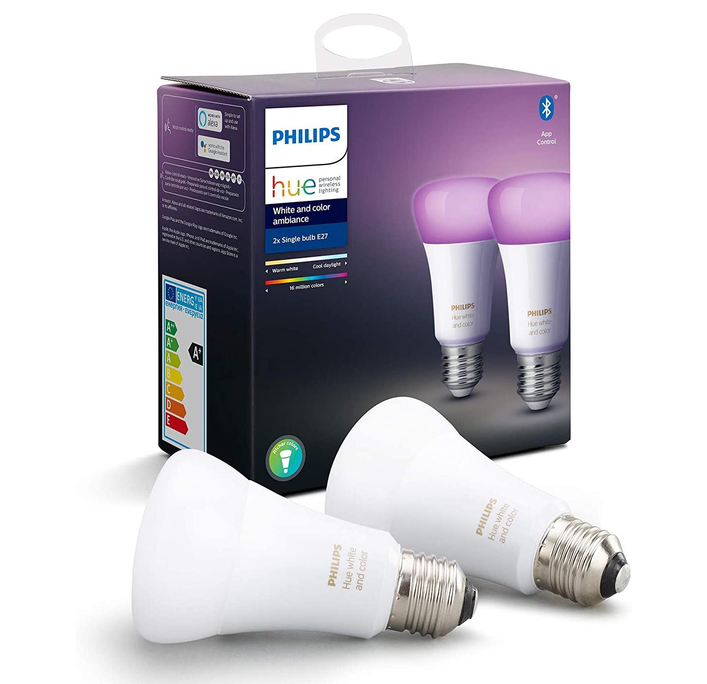 Philips Hue White & Colour Ambiance Smart Bulb Twin Pack LED [E27 Edison Screw] £54.99 @ Amazon