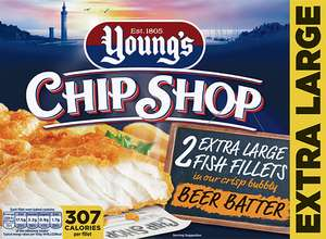 Youngs Chip Shop Extra Large Fish Fillets Beer Battered 2 frozen fish for £1 @ Farmfoods