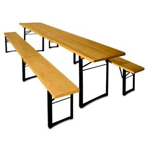 Wooden garden folding table and bench set - German beerhall style for £99.95 delivered @ DeubaXXL