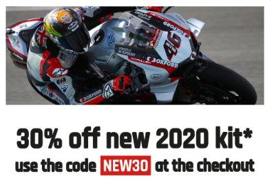 30% off all 2020 teams kit in MotoGP and BSB racing at Clnton Enterprises
