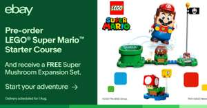Pre-order LEGO® Super Mario™ Starter Course and you'll receive a FREE Super Mushroom Expansion Set - £49.99 @ velocityelectronics eBay