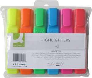 Q-Connect Highlighter Pens KF01909 - Assorted Colours (Pack of 6) - £2.34 (+ £4.49 NP)at Amazon