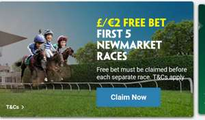£2 free bet first 5 races Newmarket race - 6/6/20 (No Deposit Required)