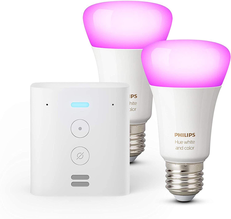 Echo Flex + Philips Hue White & Colour Ambiance Smart Bulb Twin Pack (E27) Bluetooth/ZigBee compatible (no hub required) £54.98 @ Amazon