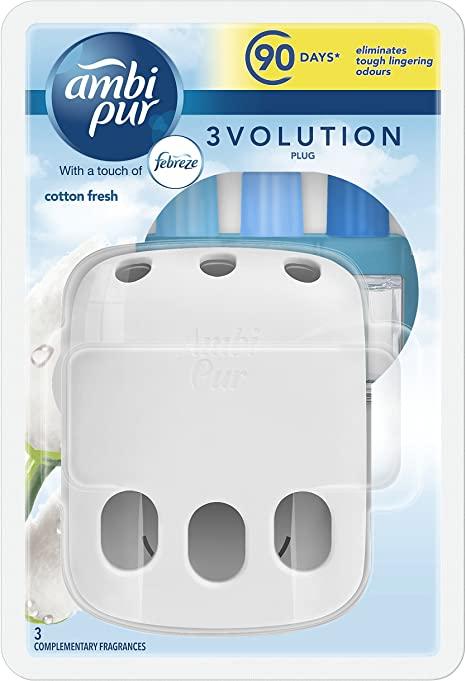 3x (Unit & Refill) Cotton Fresh Febreze / Ambi Pur 3volution @£8 + £4.49 NP @ Amazon