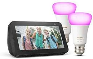 Echo Show 5 + Philips Hue White & Colour Ambiance Smart Bulb Twin Pack (E27) Bluetooth/ZigBee compatible (no hub required) £89.98 @ Amazon