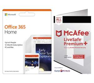 Microsoft Office 365 Home 1 year for 6 users + McAfee LiveSafe Premium 2020 1 year - £39.99 @ Currys PC World