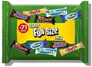 Mixed Mars Snickers Twix Bounty Milkyway Fun Size Mixed Large Bag, 1425 g, 71 pcs - £7.99 (£7.59 S&S) Prime £12.48 Non Prime - Amazon