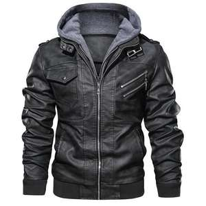 Men's PU Leather Jacket Removable Hood - £47 @ epicdeal
