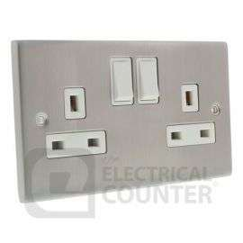 Satin Chrome And White 2 Gang Double Switched DP Socket Outlet 13A - £3.09 Delivered @ Electrical Counter
