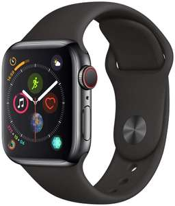 Apple Watch Series 4 (GPS + Cellular, 40mm) - Space Black Stainless Steel Case with Black Sport Band at Amazon £451.28