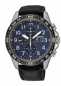 Seiko Mens Prospex Solar Blue Chronograph Dial Black Leather Strap Watch £165 at AMJ Watches (Green dial at £175)