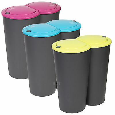 Circular Double Recycling Waste Bin Duo Rubbish Plastic Disposal 2 x 25 Litre 5 Colours - £15.99 @ daily-deals-ltd / eBay