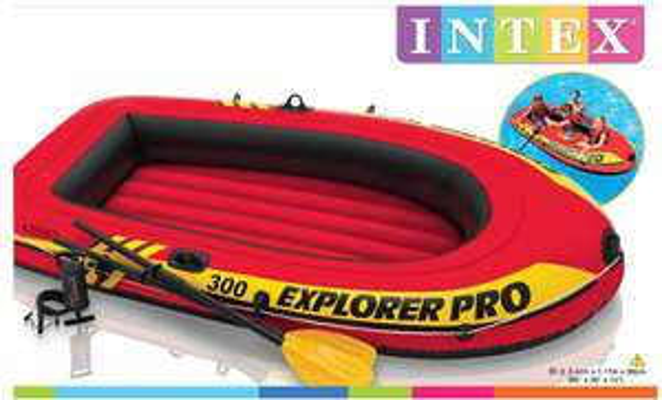 Intex Explorer Pro Inflatable Boat, Boat + Paddles + Pump, Three Person (244 x 117 x 36 cm) - £38.99 @ Amazon