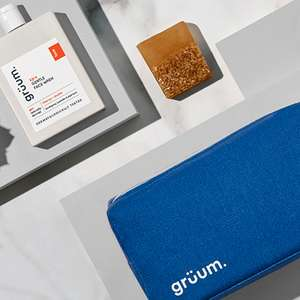 Gruum Grooming Gift Set - Washbag, Face Wash & Soap Bar £10 Free Delivery