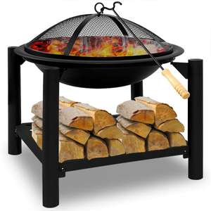 Fire pit 50x50 round with wood shelf £56.95 Delivered From DeubaXXL