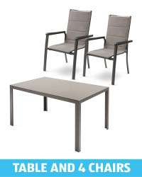4 Garden Dining Chairs and 1 Table available in Grey/Beige - £196.90 Delivered @ Aldi