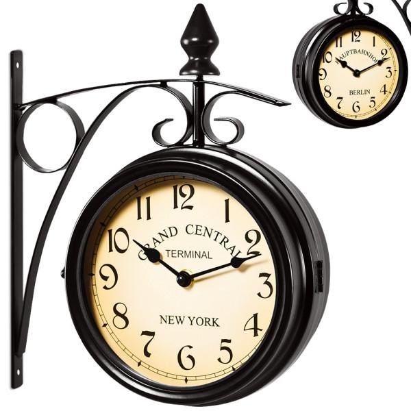 2 Sided Train station Wall clock - Black - Vintage design £20.99 @ Deubaxxl