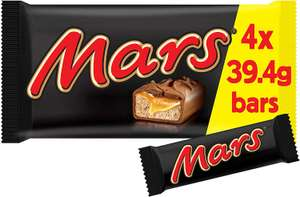 Mars Chocolate Bar, 4 x 39.4g £1 (Minimum £15 spend + £3.99 delivery or free with 4 selected items) at Amazon Pantry