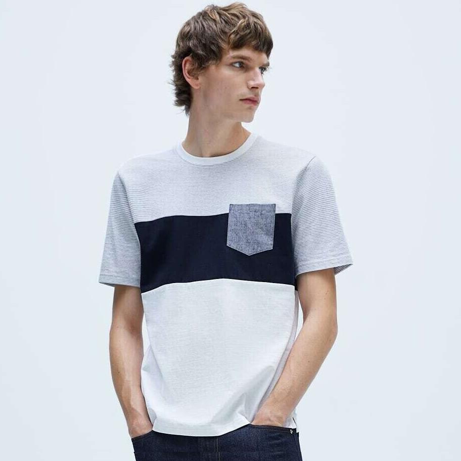 Men's Colour Block T-Shirt (3 colour options) £3.99 click and collect @ ZARA