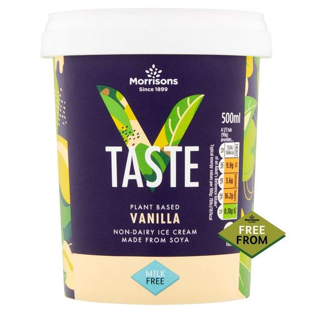 Vegan soya strawberry or vanilla 500ml ice cream 80p Morrisons