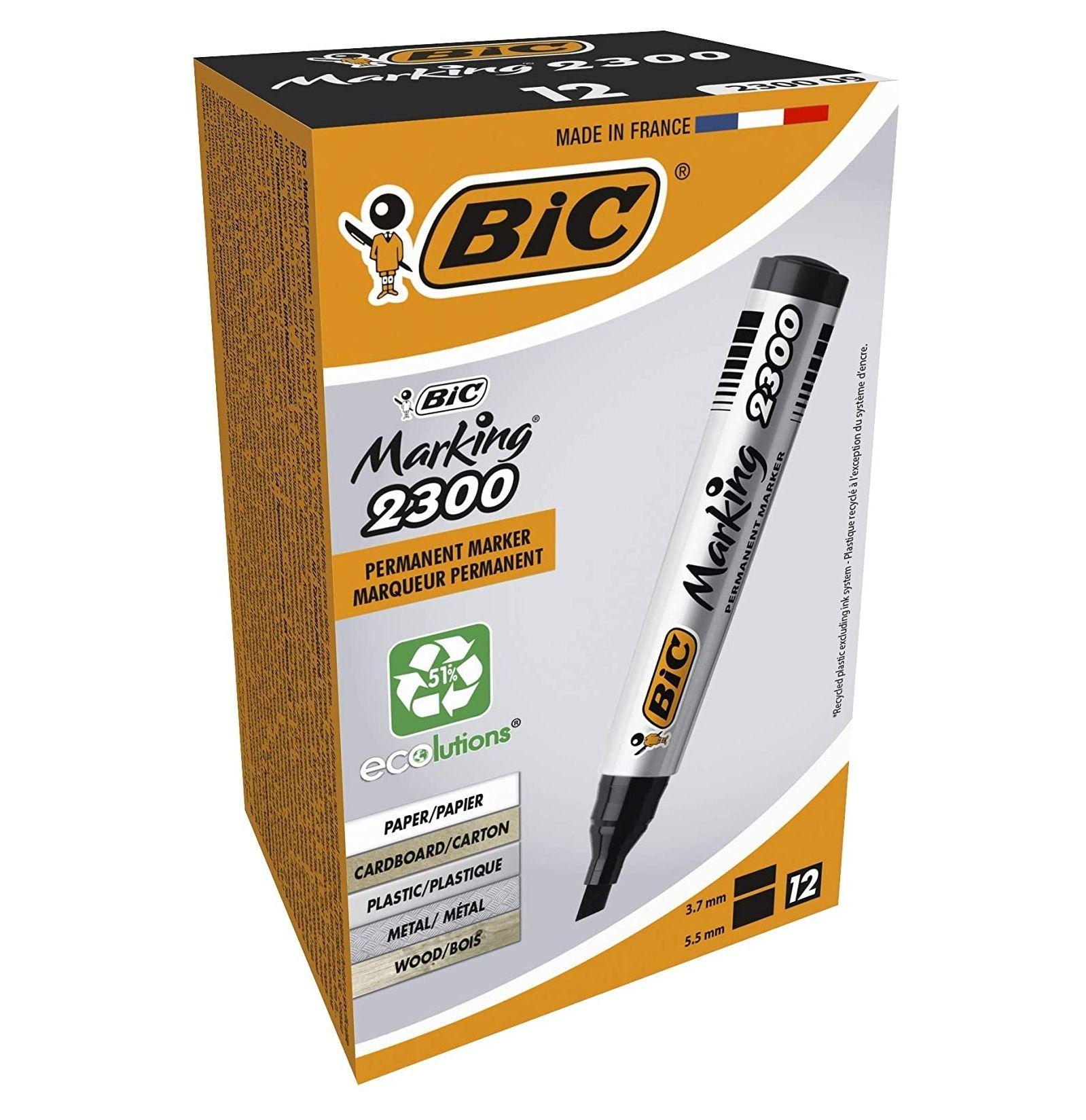BIC Permanent Markers - Black, Box of 12 - £6.29 prime / £10.78 non Prime at Amazon