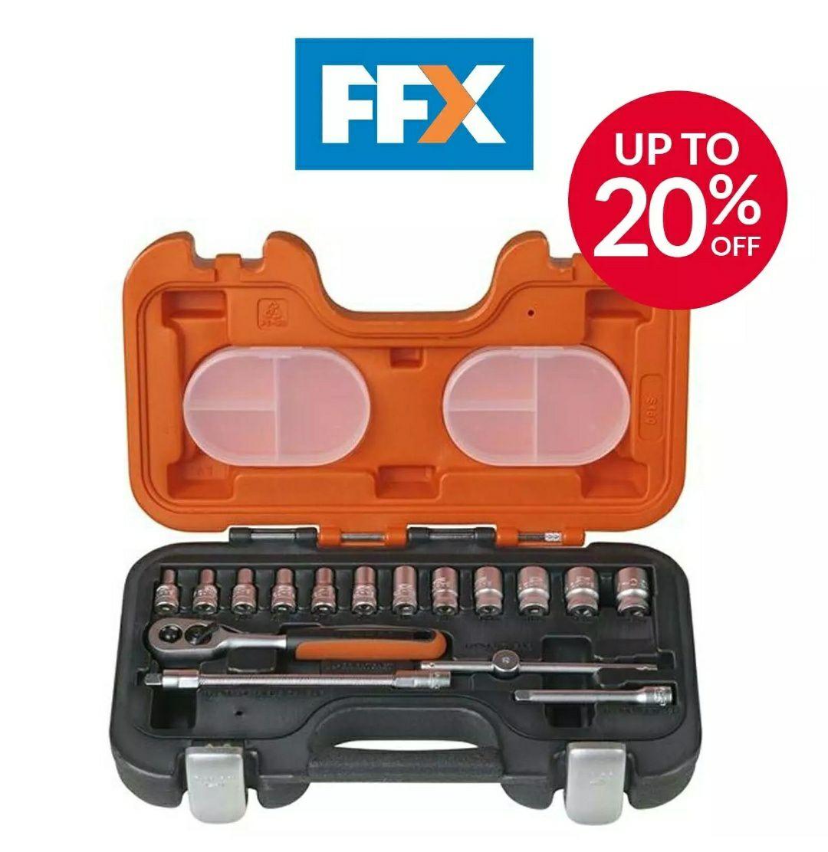 "Bahco BAHS160 Socket Set 16 Pc 1/4"" Drive Mini Ratchet Hex Sockets Extension Bar - £19.95 Delivered @ FFX Ebay"