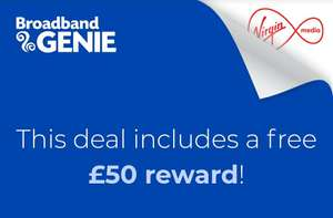 Virgin Media 54Mb Broadband £26/12 mth, £75 bill credit, £50 Amazon voucher from Broadband Genie.
