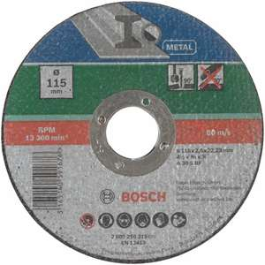 Bosch Home and Garden 2609256315 Straight Cutting disc, Metal (115mm) £1 (Prime) / £5.49 (non Prime) at Amazon