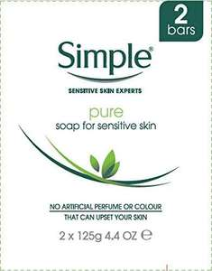 Simple Antibacterial Soap for Sensitive Skin 125g (2 Bars) £1.39 / + £4.49 NP / £1.32 with S&S at Amazon