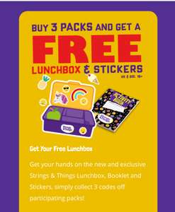 Collect 3 Codes From 'Strings & Thing's Products And Claim A Free Lunchbox + Stickers