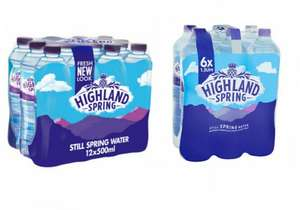 Highland Spring Still Spring Water Bottles Family Pack 12x500 £2 / Highland Spring Still Spring Water Bottles 6x1.5 £2.50 @ Asda